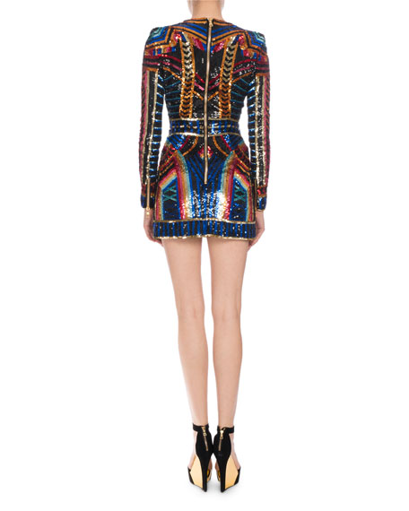 Geometric Sequin-Embellished Mini Dress, Multi