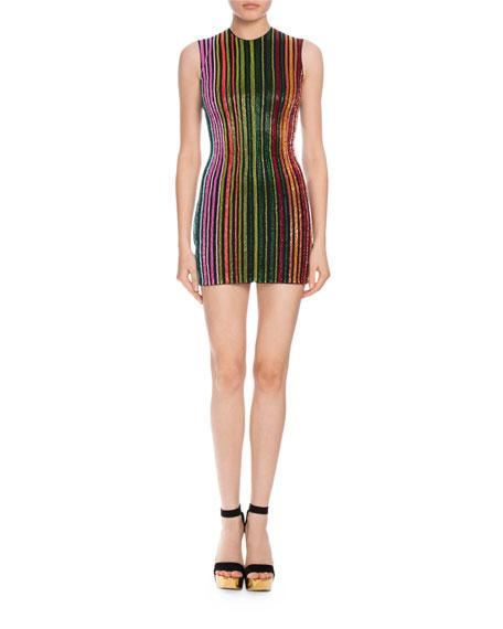 Beaded-Stripe Sleeveless Minidress, Multicolor