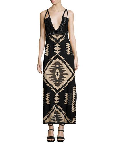 Southwestern Jacquard Cami Gown, Black Pattern