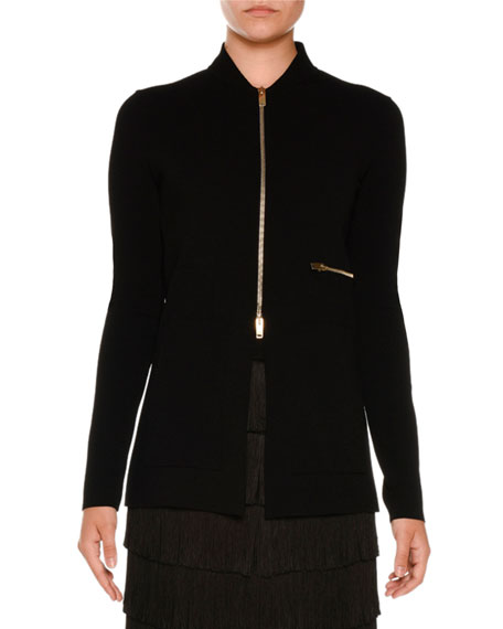 Compact Rib-Knit Zip-Front Jacket, Black