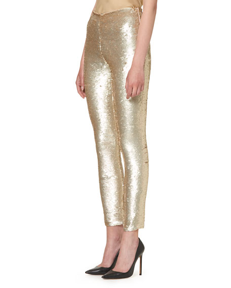 Sequined Slim-Leg Ankle Pants, Gold