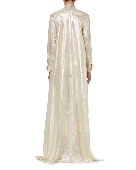 Sequined Metallic Caftan-Style Evening Gown, Ivory