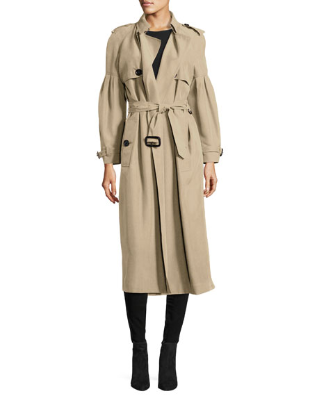 Belted Mulberry Silk Trenchcoat, Nude