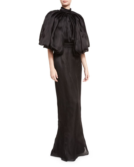 Brandon Maxwell Mock-Neck Open-Back Silk Organza Gown, Black