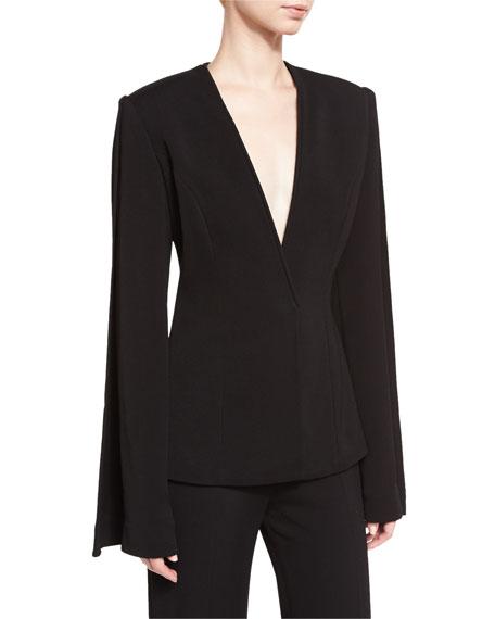 Collarless Suiting Jacket, Black