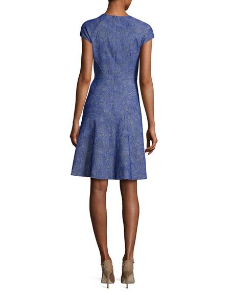 Blair Printed Cap-Sleeve Day Dress, Lapis
