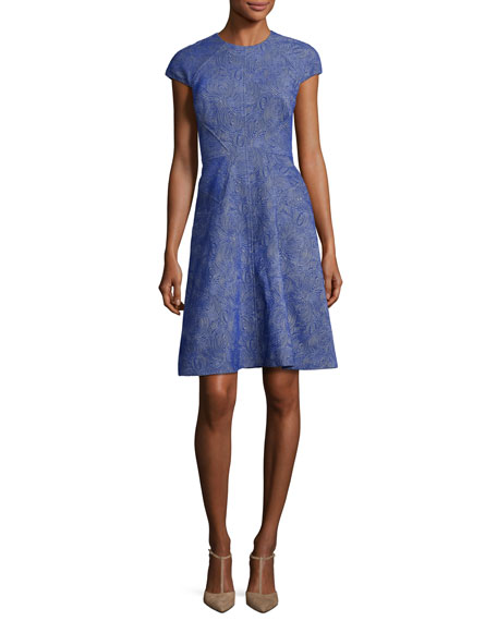 Blair Printed Cap-Sleeve Day Dress, Lapis