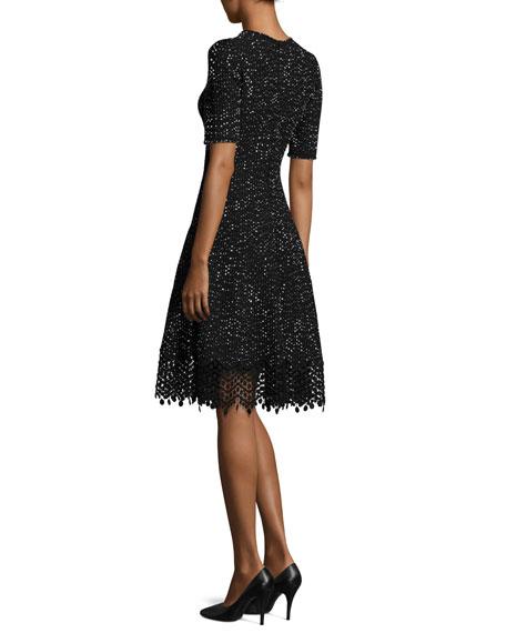 Half-Sleeve Knit Lace-Hem Dress