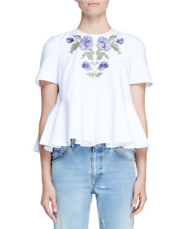 Floral-Embroidered Pique Peplum Top, White