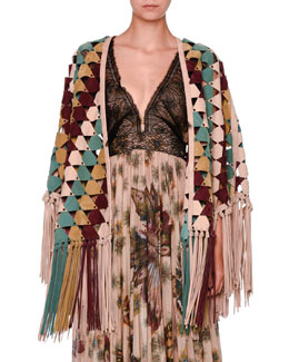 Geometric Fringed Suede Cape, Multi