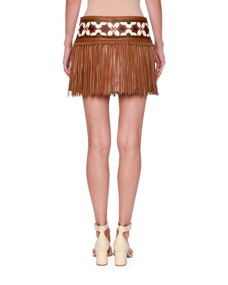 Knotted Fringe Leather Mini Skirt, Tan