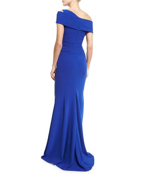 Moa Asymmetric Off-Shoulder Gown, Blue