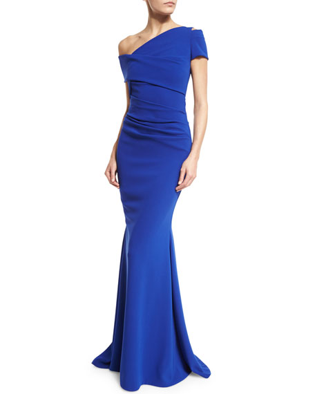 Moa Asymmetric Off-Shoulder Gown, Blue