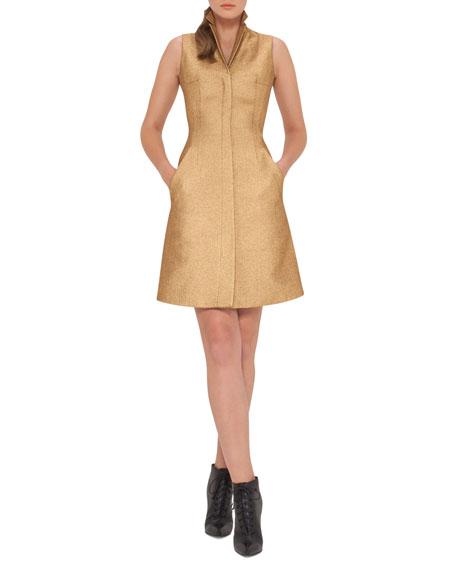 Sleeveless Coat Dress w/Back A-Cutout, Gold
