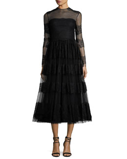 Long-Sleeve Chantilly Lace Dress, Black