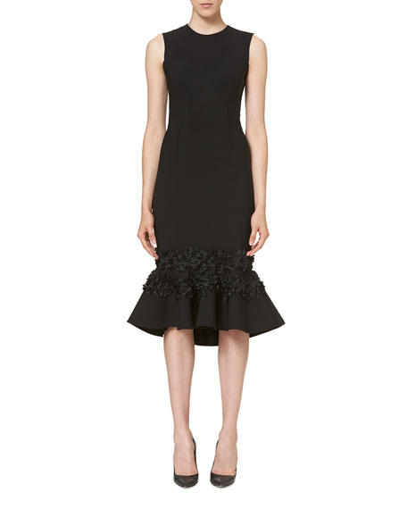 Embellished Flounce Hem Dress, Black by Carolina Herrera