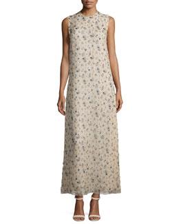 Sleeveless Floral-Print Organza Gown, Tan