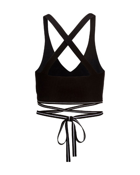 Ribbed Cross-Back Sports Bra, Black