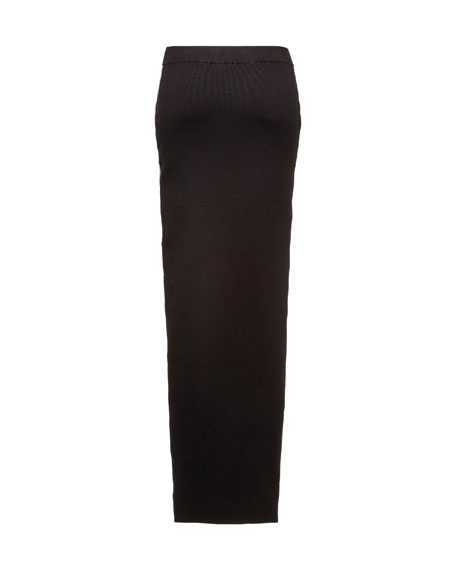 Ribbed Side-Stripe Maxi Skirt, Black