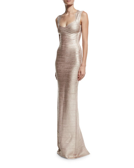 Cap-Sleeve Open-Back Bandage Gown, Gold