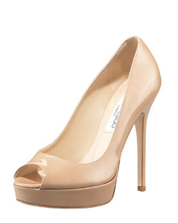 Jimmy Choo Crown Peep-Toe Patent Platform Pump