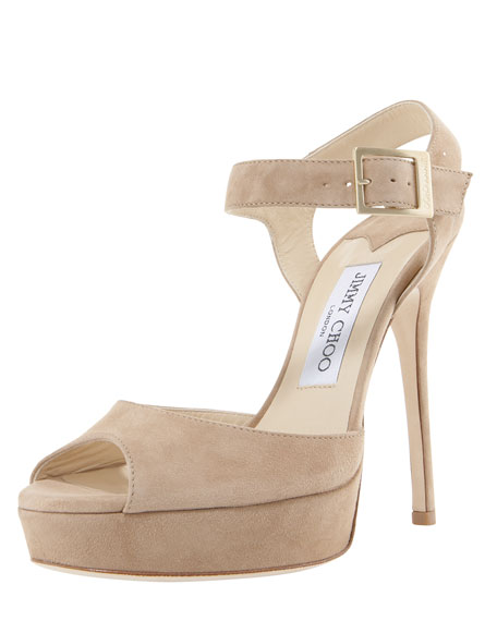Linda Suede Ankle-Wrap Sandal