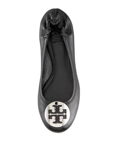 Reva Logo Ballerina Flat, Black