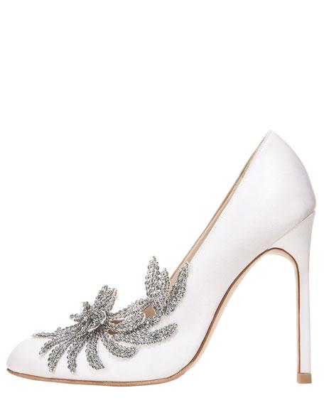 manolo blahnik swan embellished satin pump white rh bergdorfgoodman com