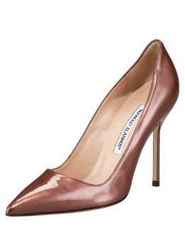 Point-Toe Metallic Patent BB Pump