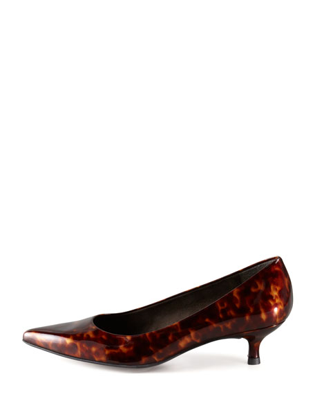 1f1a6107e06 Stuart Weitzman Poco Patent Leather Kitten-Heel Pump