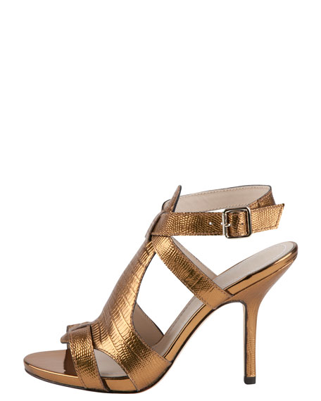 Tango Metallic Lizard-Embossed Sandal, Copper