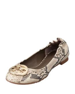 Tory Burch Reva Snake-Print Ballerina Flat, Roccia