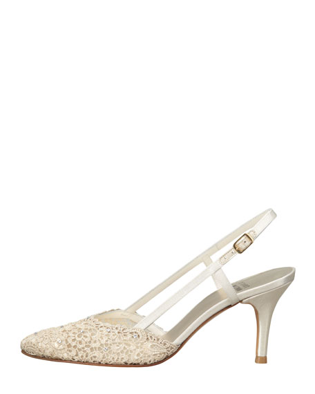 Metallic Lace Slingback