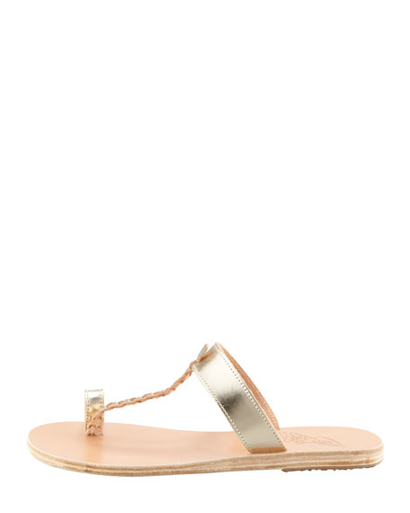Melpomeni Toe-Ring Braided Flat Sandal, Platinum