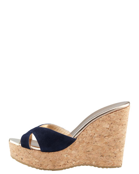 Perfume Cork Wedge Slide, Navy