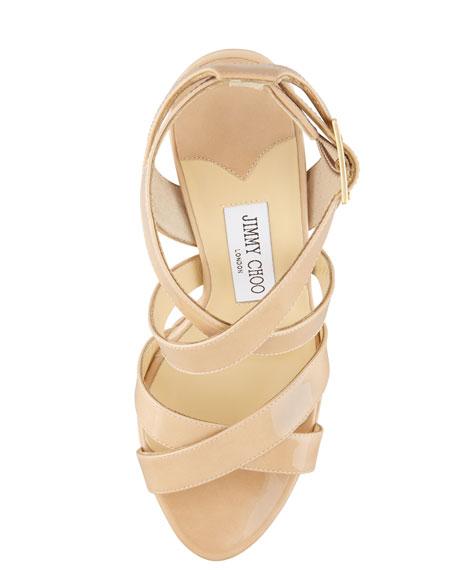 Vamp Crisscross Platform Sandal, Nude