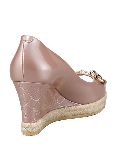 Metallic Patent Peep-Toe Wedge