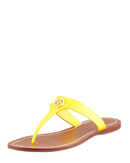 Cameron Patent Logo Thong Sandal, Daisy Yellow