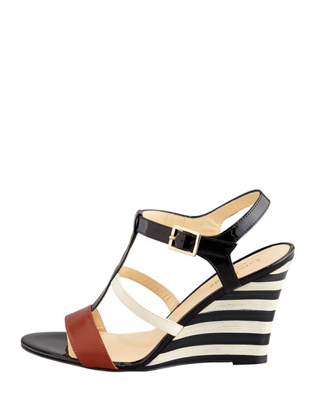 irina patent striped wedge sandal