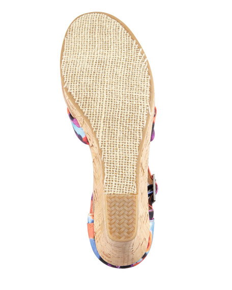 Printed Hemp Strappy Wedge Sandal, Oahu