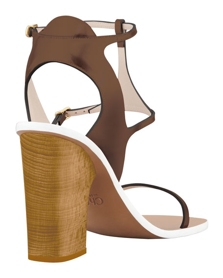 Metallic Leather Ankle-Wrap Sandal