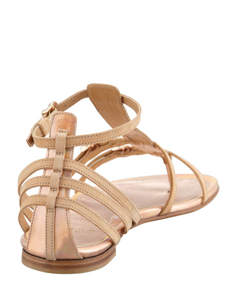 Specchio Buckled Thong Sandal, Rose