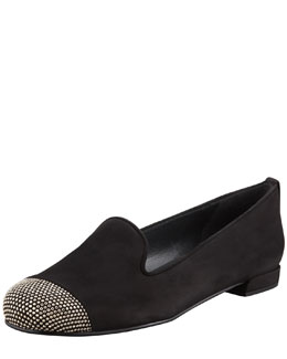 Stuart Weitzman Lingo Stud Detail Smoking Slipper, Black