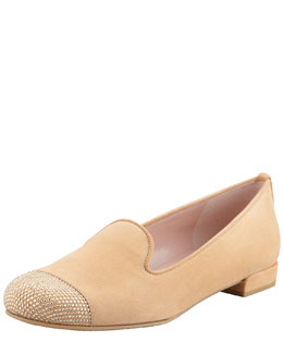Stuart Weitzman Lingo Stud Detail Smoking Slipper, Tan