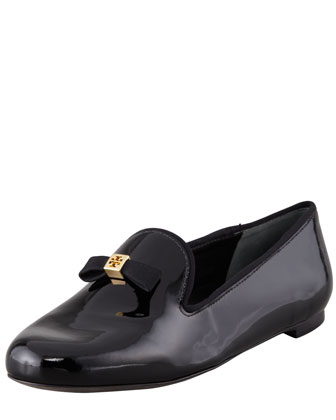 Chandra Patent Smoking Slipper, Black