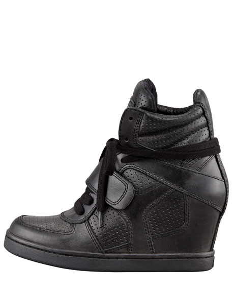 Cool Ter Perforated High-Top Wedge Sneaker, Black