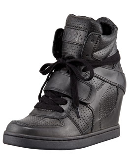 Ash Cool Ter Perforated High-Top Wedge Sneaker, Black