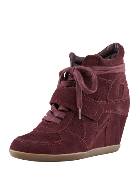 Bowie Suede Wedge Sneaker, Bordeaux