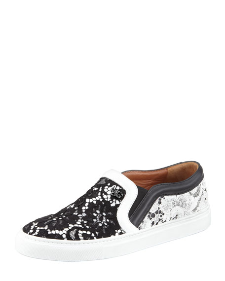 Lace Slip-On Sneaker, Black/White