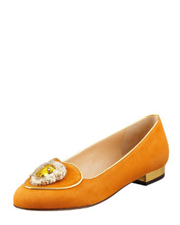 Charlotte Olympia Birthday Leo Zodiac Smoking Slipper, Orange